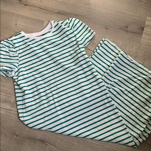 Who What Wear Green and White Stripe Midi Dress